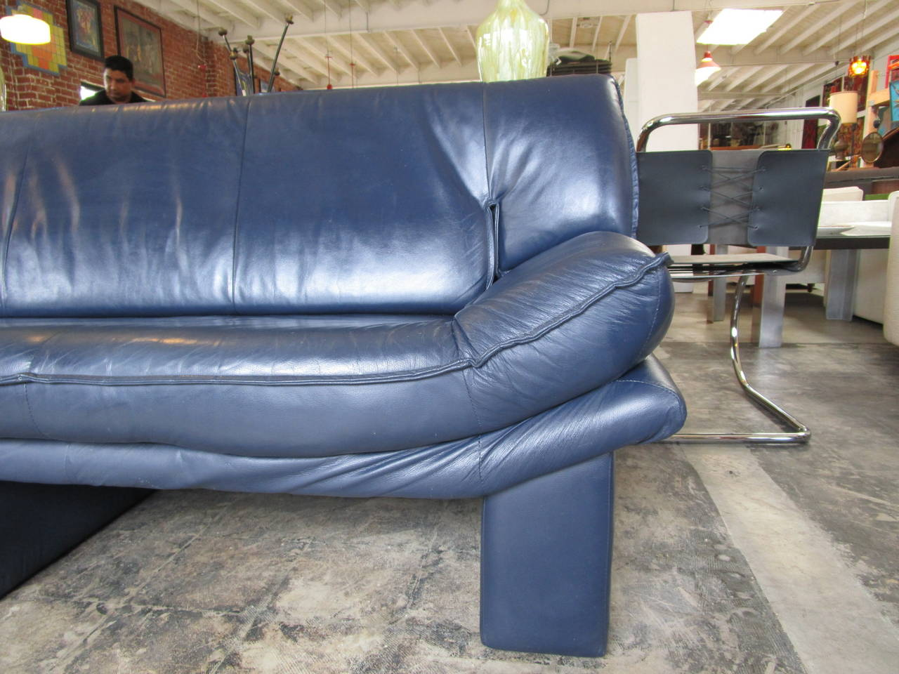 Navy Blue Leather Sofas