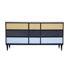 Graphic Mid-Century Modern Dresser with Nine Drawers