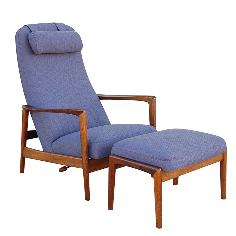 Teak Recliner And Ottoman By DUX At 1stdibs