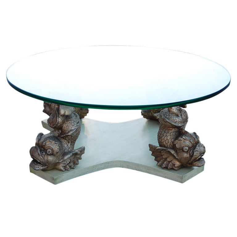 French Coffee Table With Plaster Dolphins In The Manner Of Serge Roche