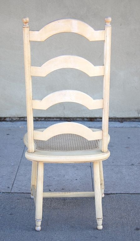 Set Of 6 Ladder Back French Provincial Dining Chairs At