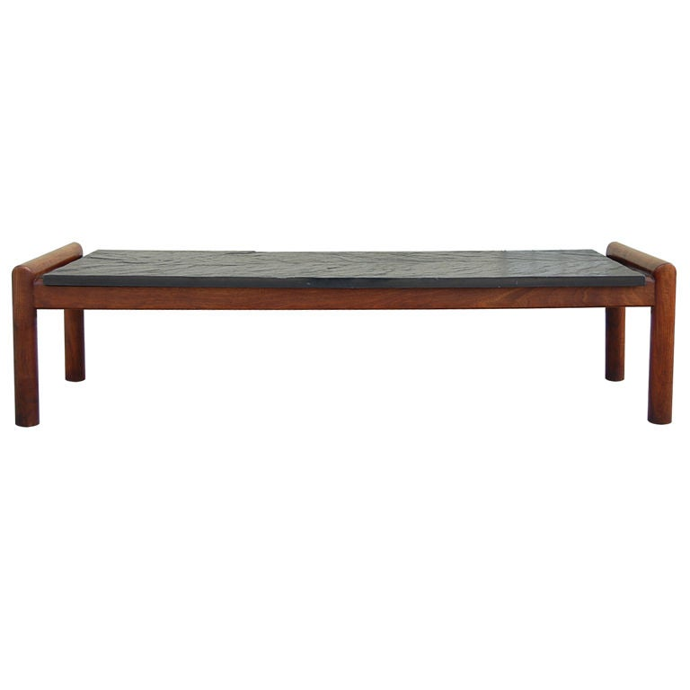 Architectural and minimal slate top coffee table at 1stdibs Slate top coffee tables