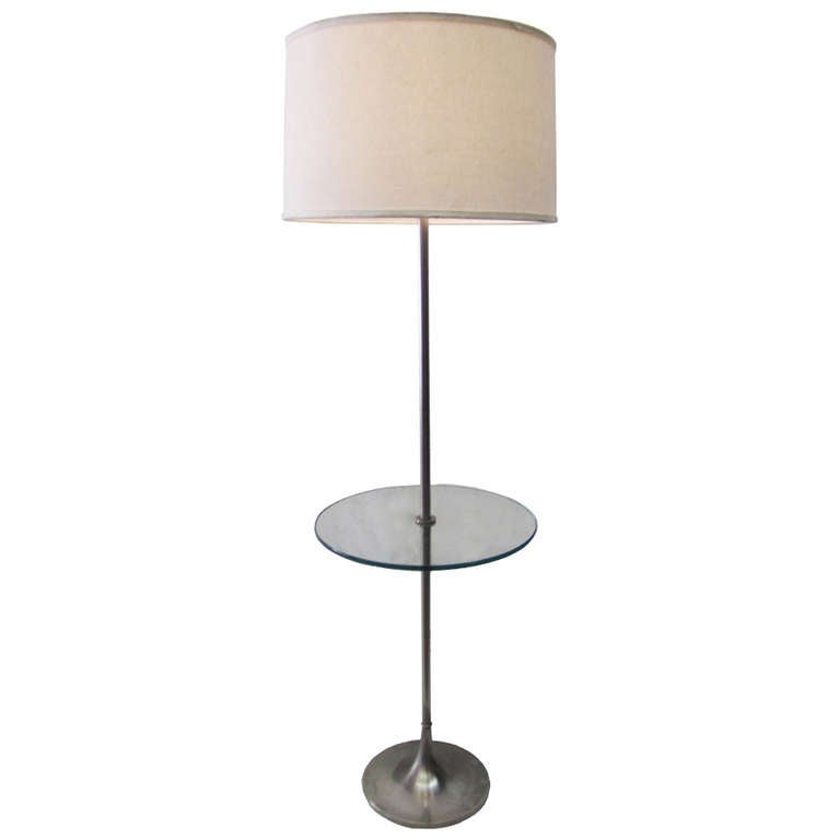 Superb 1960s Laurel Floor Lamp With Attached Glass Table 1
