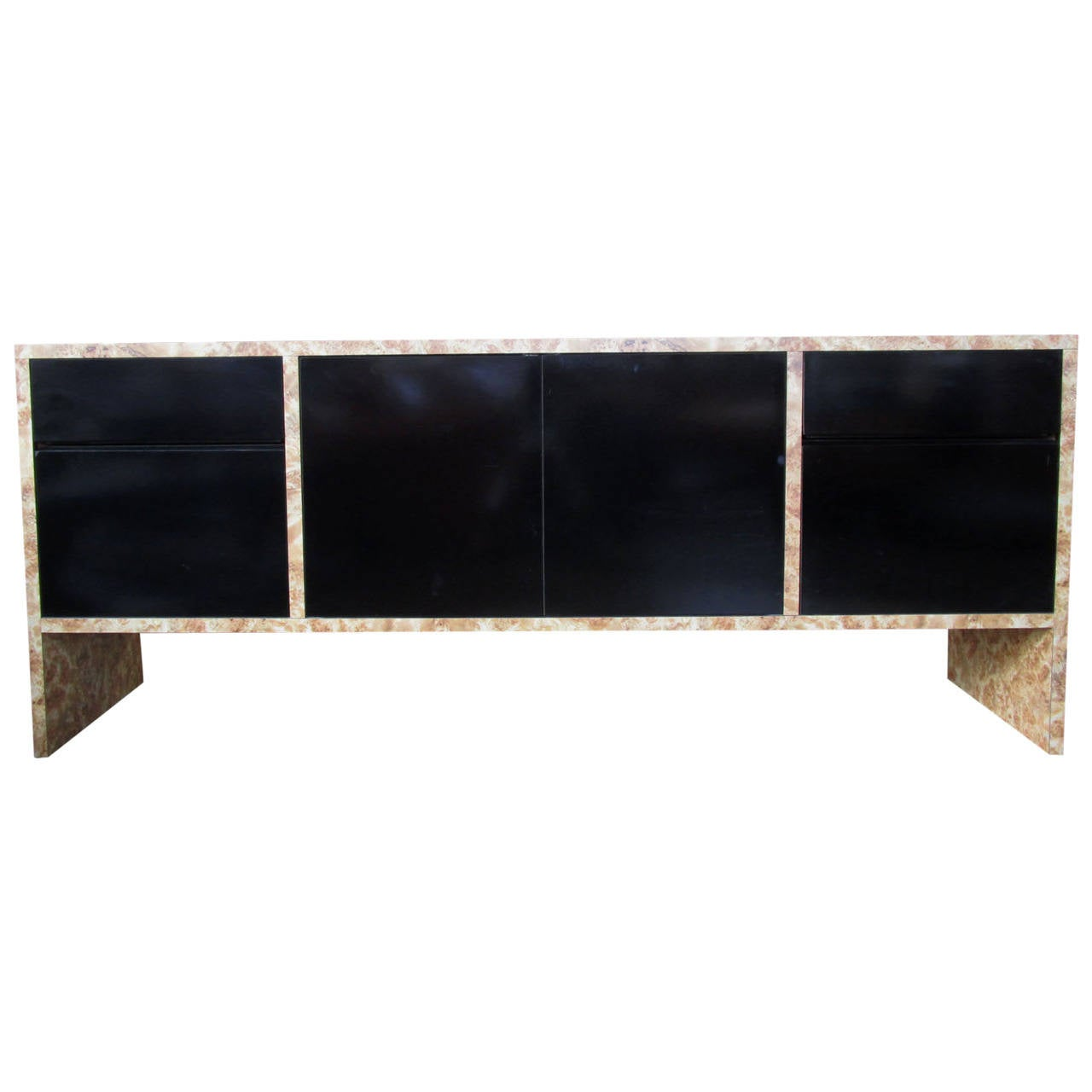 Black Lacquer And Burled Wood Credenza Or Buffet For Sale At 1stdibs. Full resolution  snapshot, nominally Width 1280 Height 1280 pixels, snapshot with #876944.