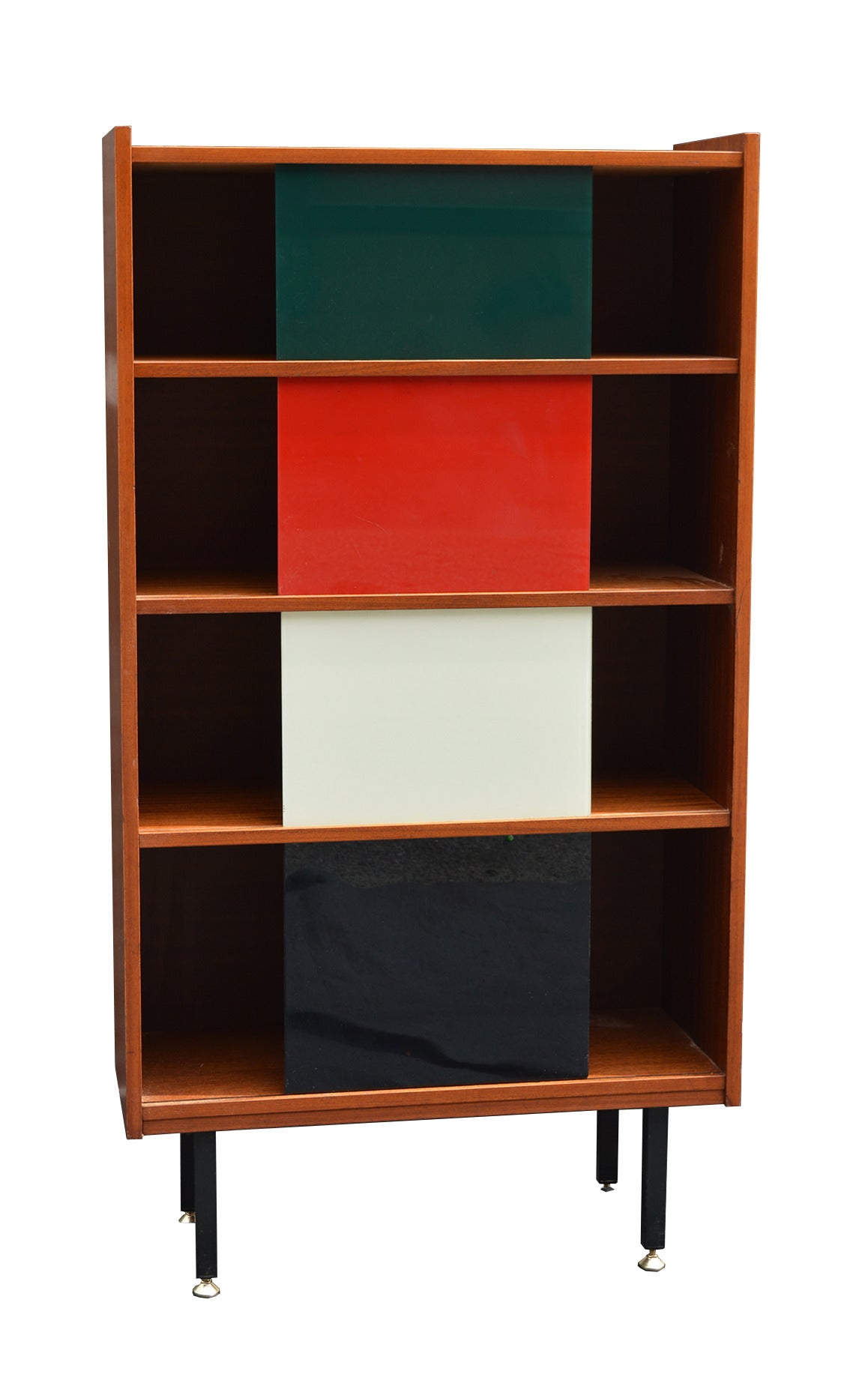 Modernist vitrine with sliding colored glass panels by for Coloured glass panels