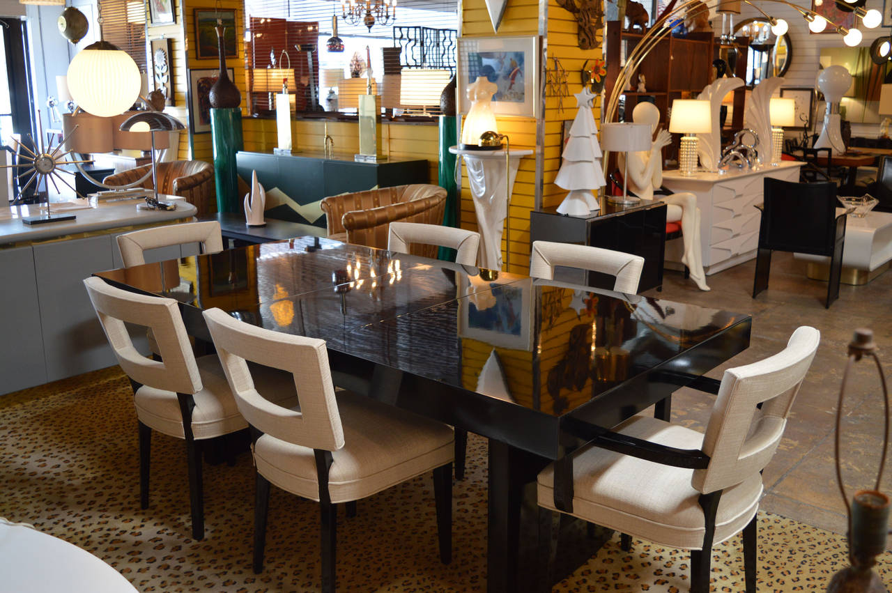 Black Lacquer Dining Set In The Manner Of William Haines