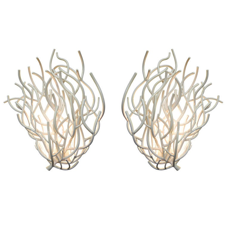 A Pair Of White Coral Sconces At 1stdibs