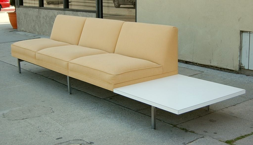 3 seat sofa with attached side table by george nelson and for Sectional sofa with table attached