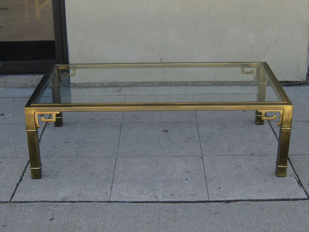 Asian Inspired Brass Coffee Table By Mastercraft At 1stdibs