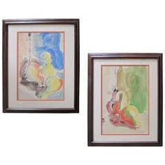 Watercolor Abstract Expressionist Still Lifes, Pair