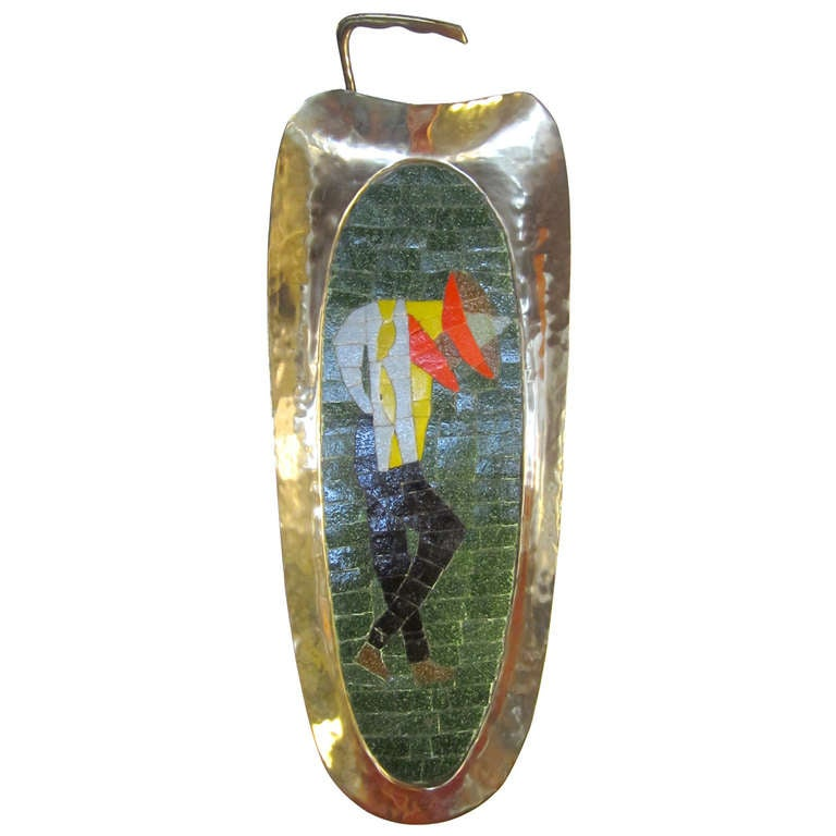 Handmade Mosaic Tray in Glass, Tile and Brass by Salvador Teran