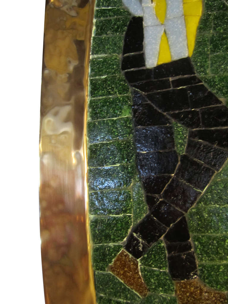 Mexican Handmade Mosaic Tray in Glass, Tile and Brass by Salvador Teran For Sale