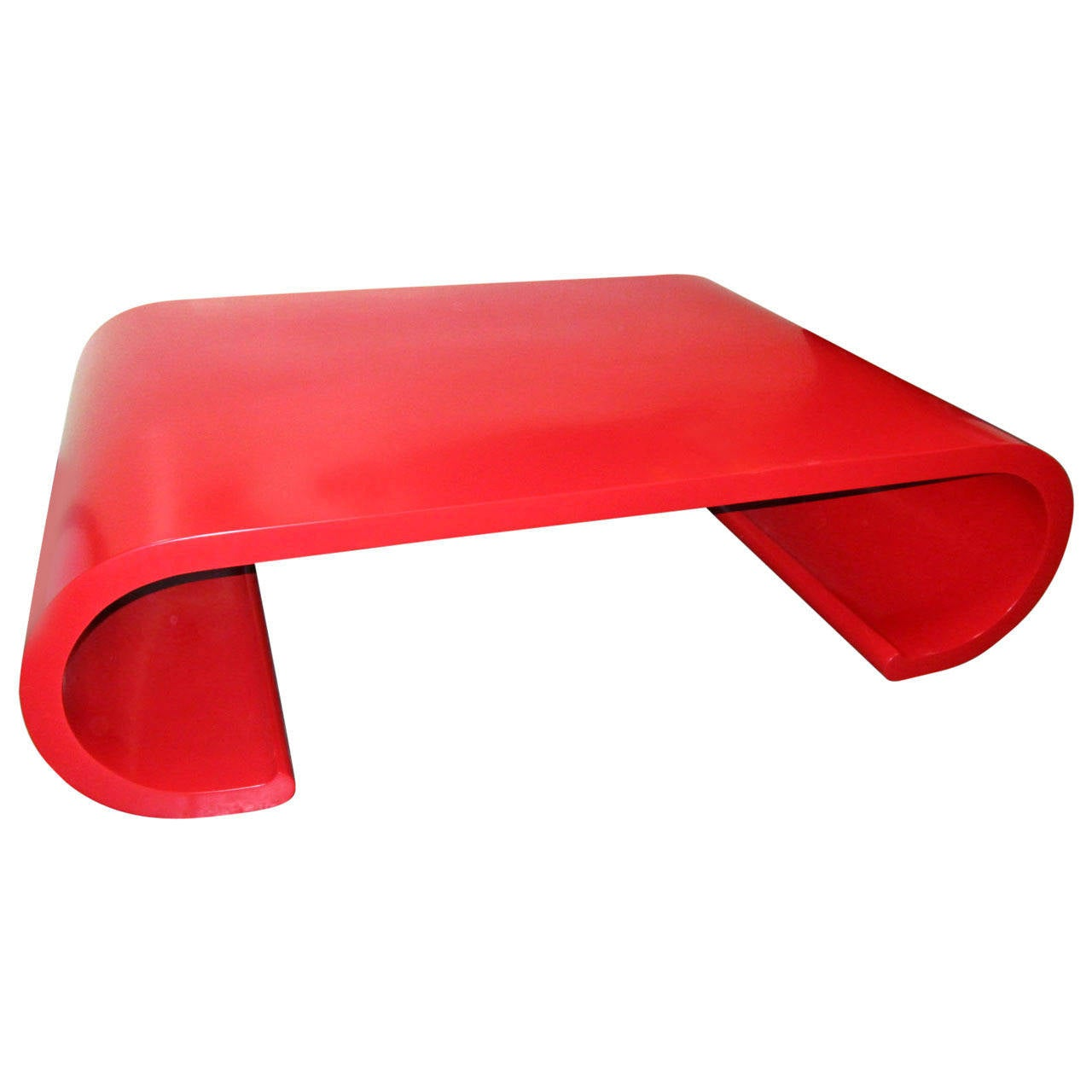 Chic Red Lacquer Scroll Coffee Table In The Manner Of Karl