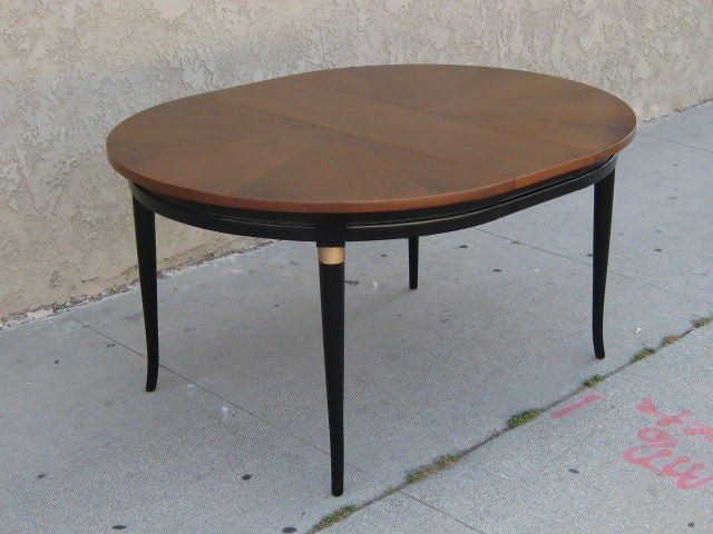 elegant walnut and black lacquer dining table at 1stdibs
