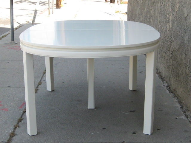 mid century elegant white lacquer dining table for sale at