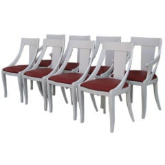 Set of Eight White Lacquer Gondola  Chairs by Pietro Costantini