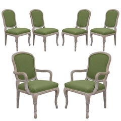 A Set of 4 Dining and 2 Captain Chairs in the Louis XV Style