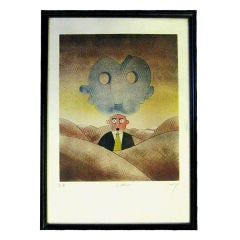 """Whimsical Artist Proof named """"Le Masque"""" by a French Artist"""