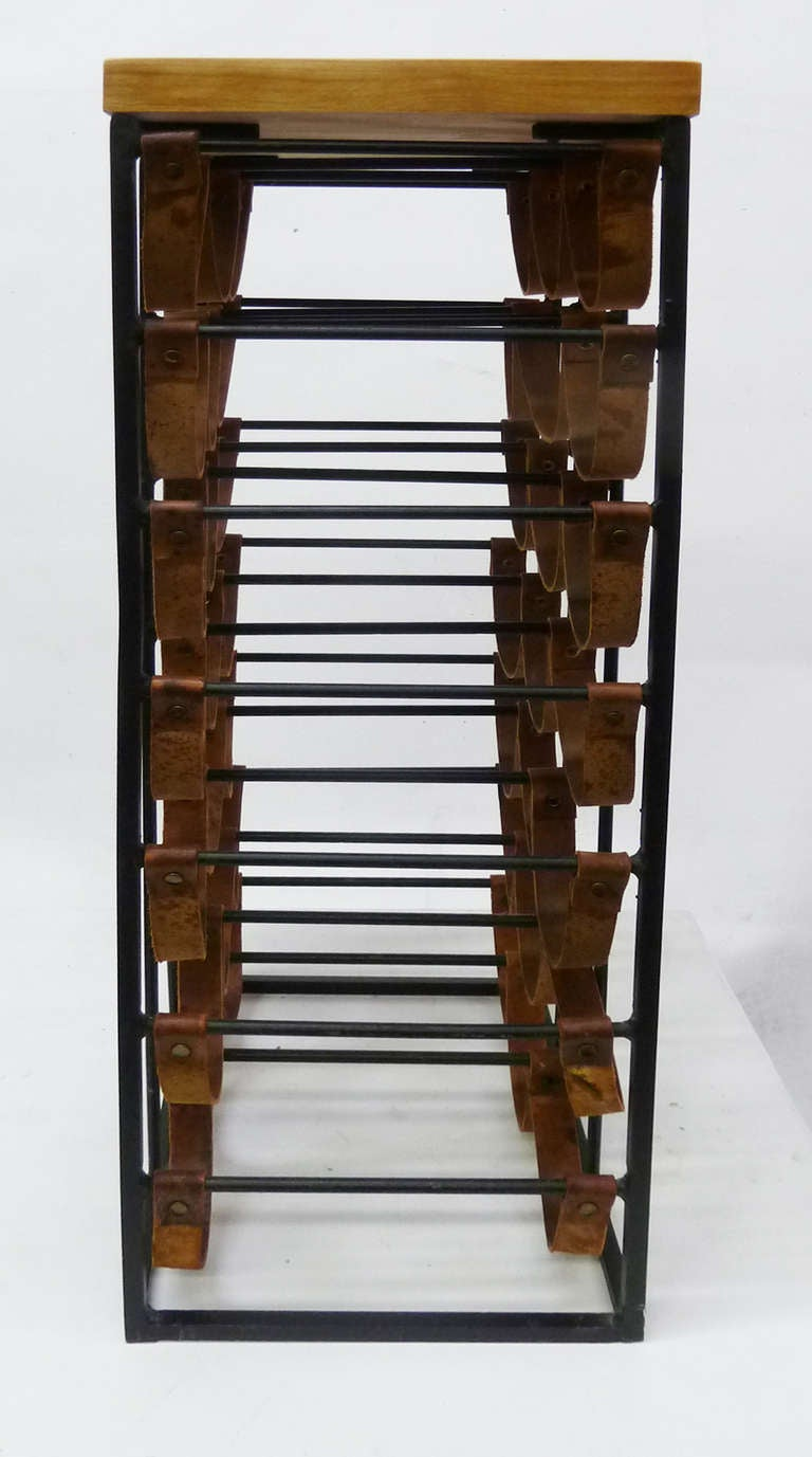 Mid-Century Modern Iron and Leather Wine Rack by Arthur ...
