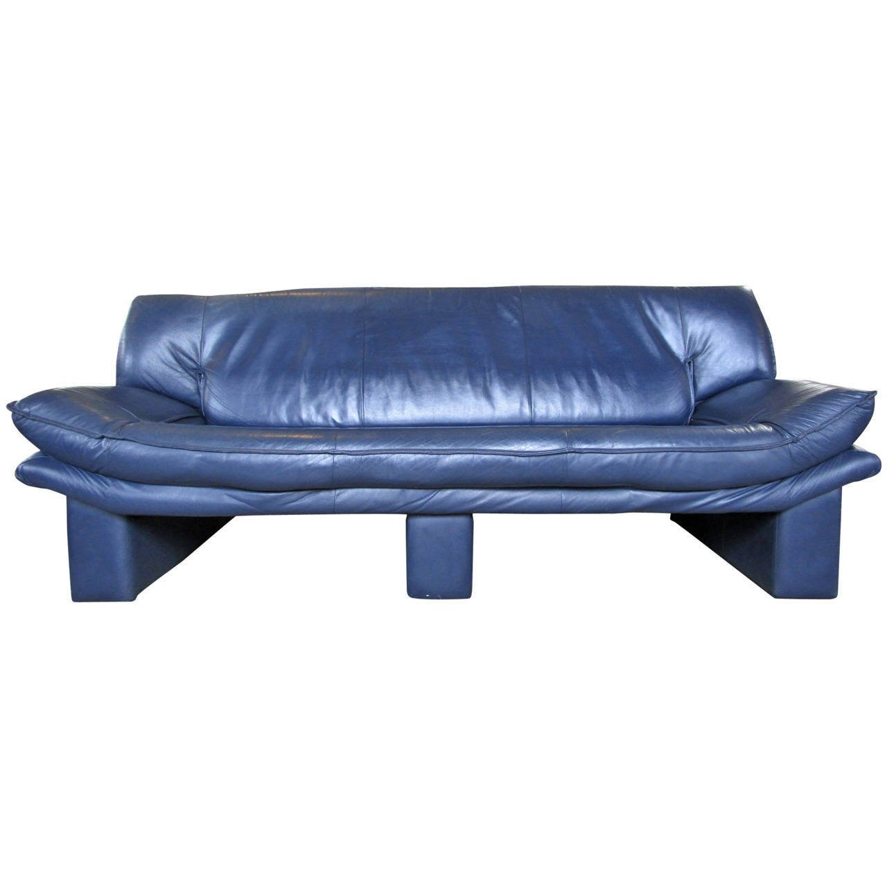 Navy blue leather sofa by nicoletti salotti at 1stdibs for Blue leather sofa