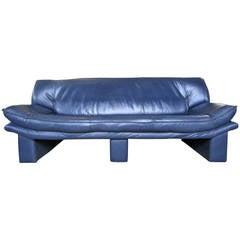 Navy Blue Leather Sofa by Nicoletti Salotti
