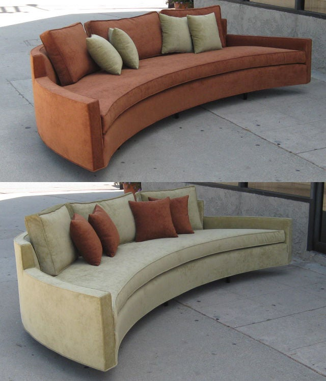A Pair Of Custom Order Curved Sofas By Harvey Probber At
