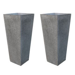A Pair of 3 Foot Tall Architectural Terazzo Planters