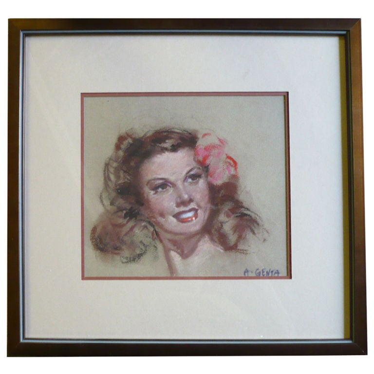 Mid-Century French Glamorous Portrait of a Young Woman by Albert Genta