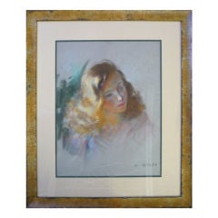 Mid-Century French Pastel on Paper of a Young Girl Signed A. Genta