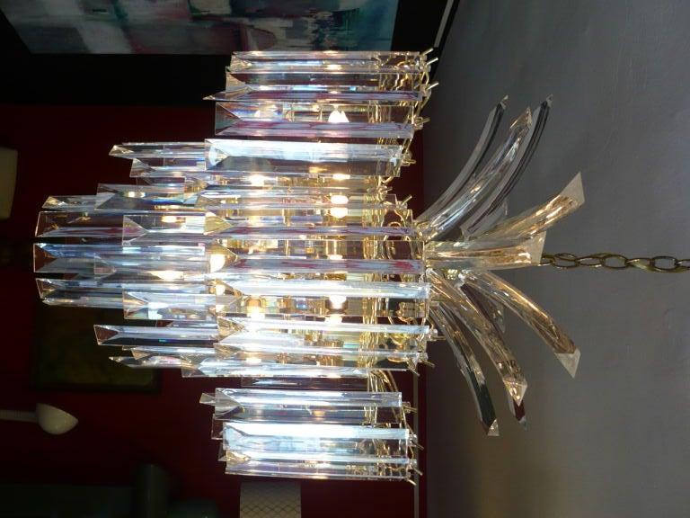 American Glistening Lucite Chandelier For Sale