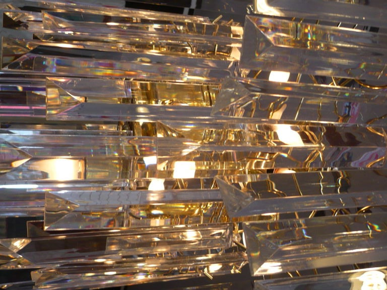 Brass Glistening Lucite Chandelier For Sale