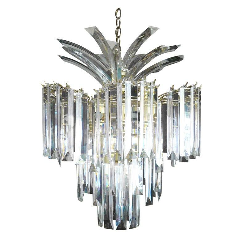 Glistening Lucite Chandelier For Sale