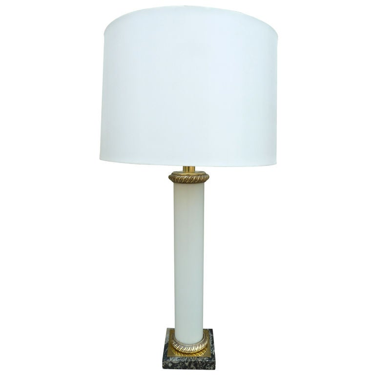 French Mid-Century Tall White Opalin Glass and Bronze Table Lamp