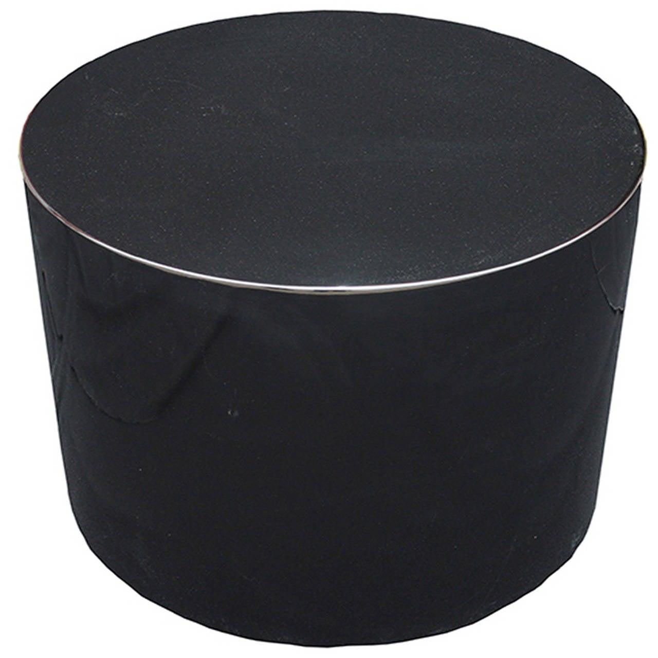 Karl Springer Style Swivel Black Lacquer Pedestal or Cocktail Table