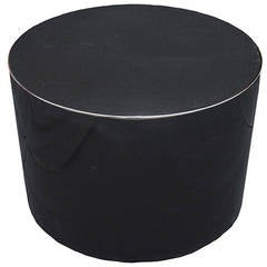 Karl Springer Style Swivel Black Lacquer Pedestal or Cocktail Table