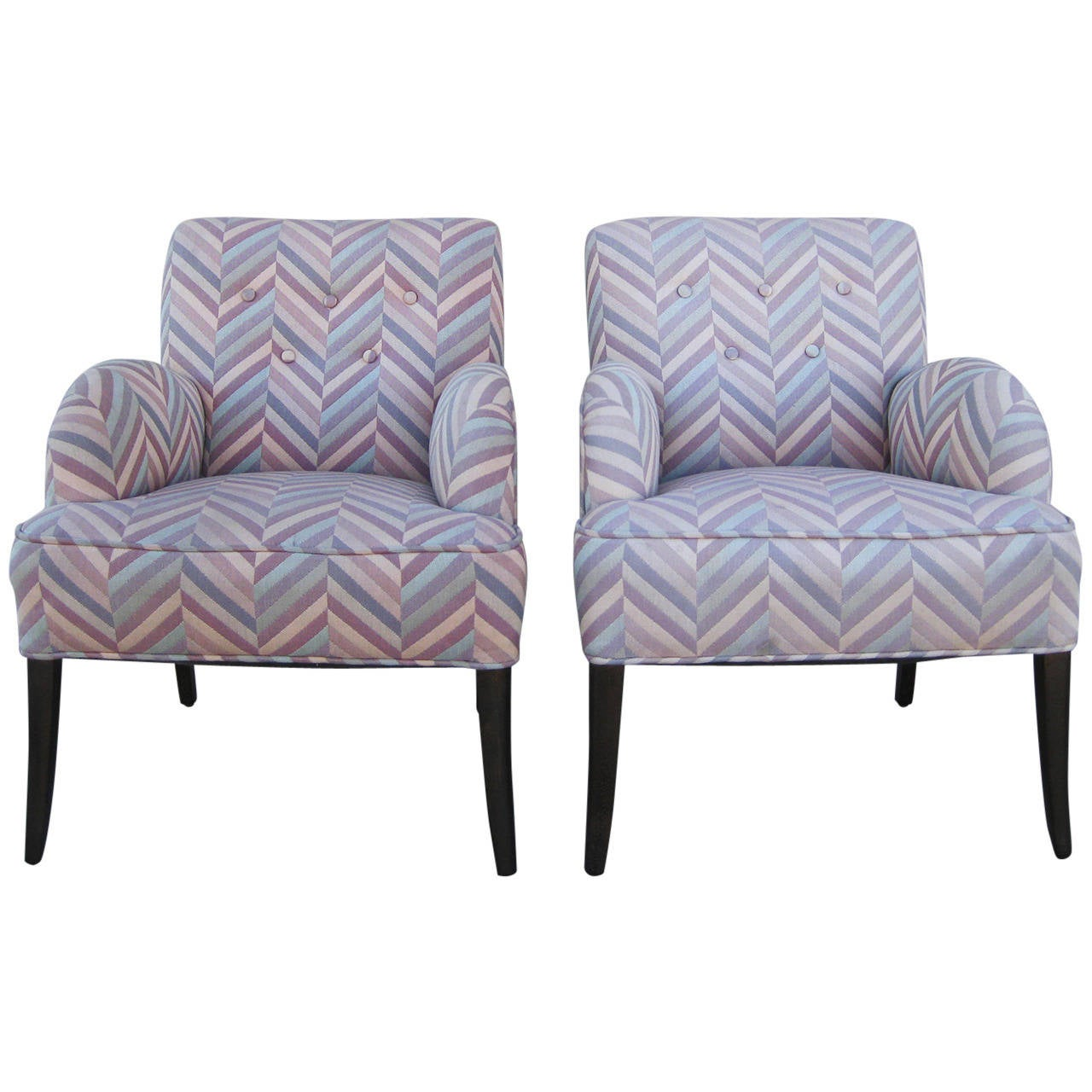 Pair of comfortable chairs in zig zag fabric for sale at for Comfy chairs for sale