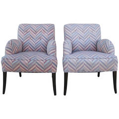 Pair of Comfortable Chairs  in  Zig-Zag  Fabric