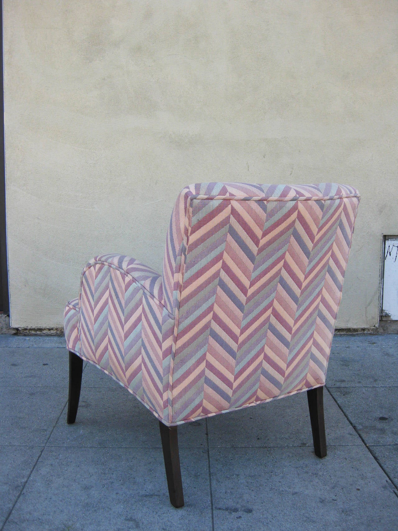 Pair Of Comfortable Chairs In Zig Zag Fabric For Sale At