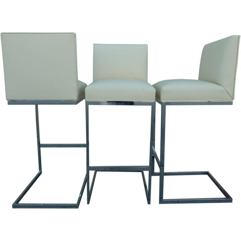 A Set Of 3 Cantilevered Bar Stools By Milo Baughman At 1stdibs