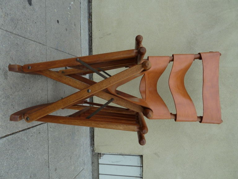 Costa Rican Mid-Century Teak and Leather Folding Rocking Chair image 2