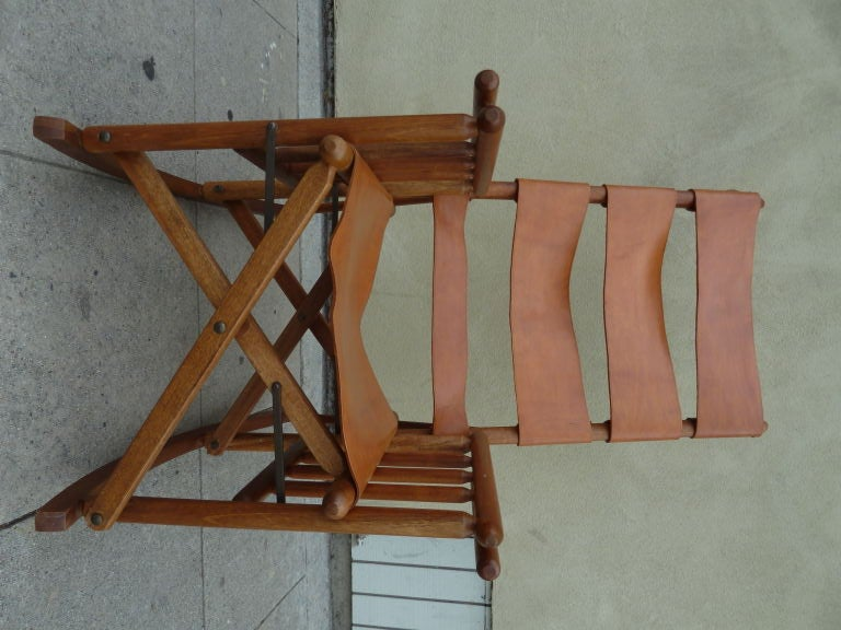 Costa Rican Mid Century Teak And Leather Folding Rocking