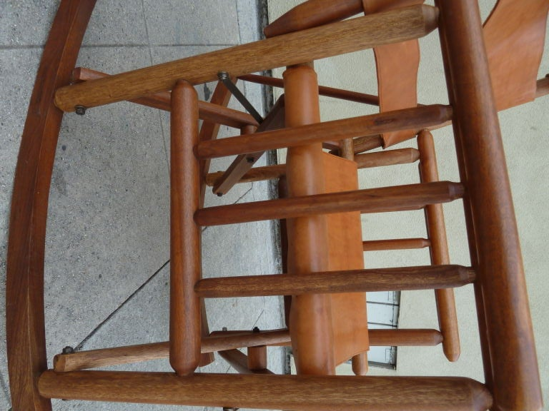 Costa Rican Mid-Century Teak and Leather Folding Rocking Chair image 6