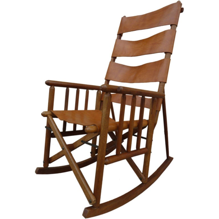 Costa Rican Mid-Century Teak and Leather Folding Rocking Chair at ...