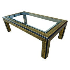 Acid Etched Brass Coffee Table by Berhard Rohne for Mastercraft
