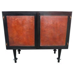 Brown Leather and Black Lacquer Cabinet