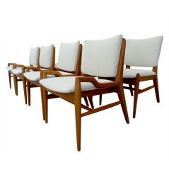 Mid-Century Captain Chairs and Side Chairs by John Keal, Set of Four Each