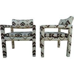 Pair of Milo Baughman Chairs in  Jack Lenor Larsen Fabric