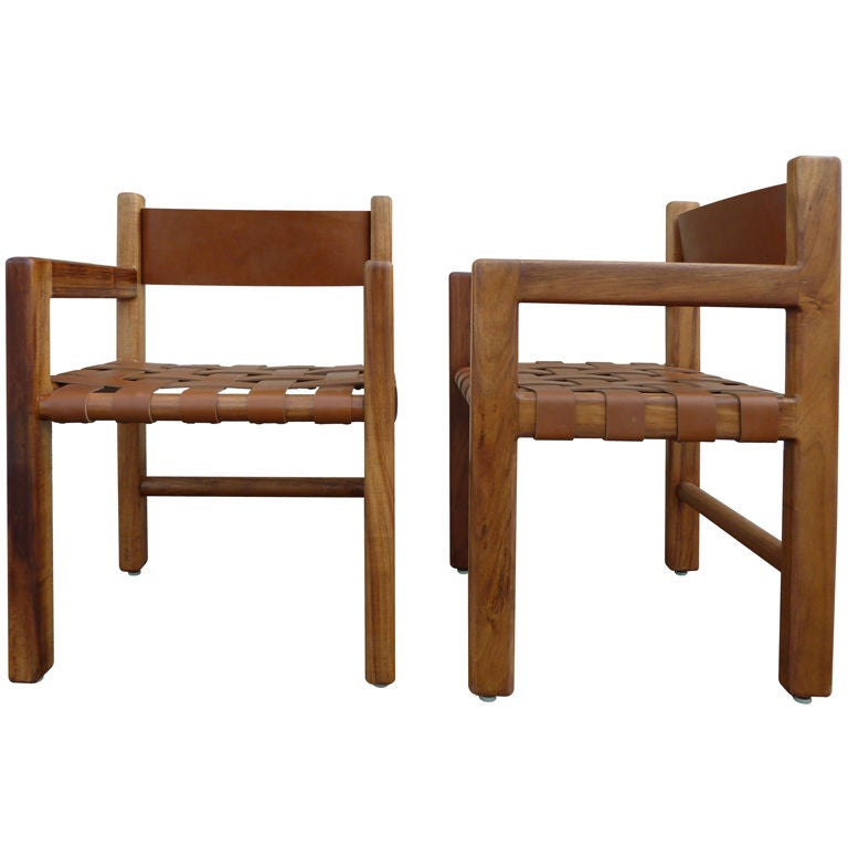 French Mid Century Woven Seat Leather Chairs Pair at 1stdibs