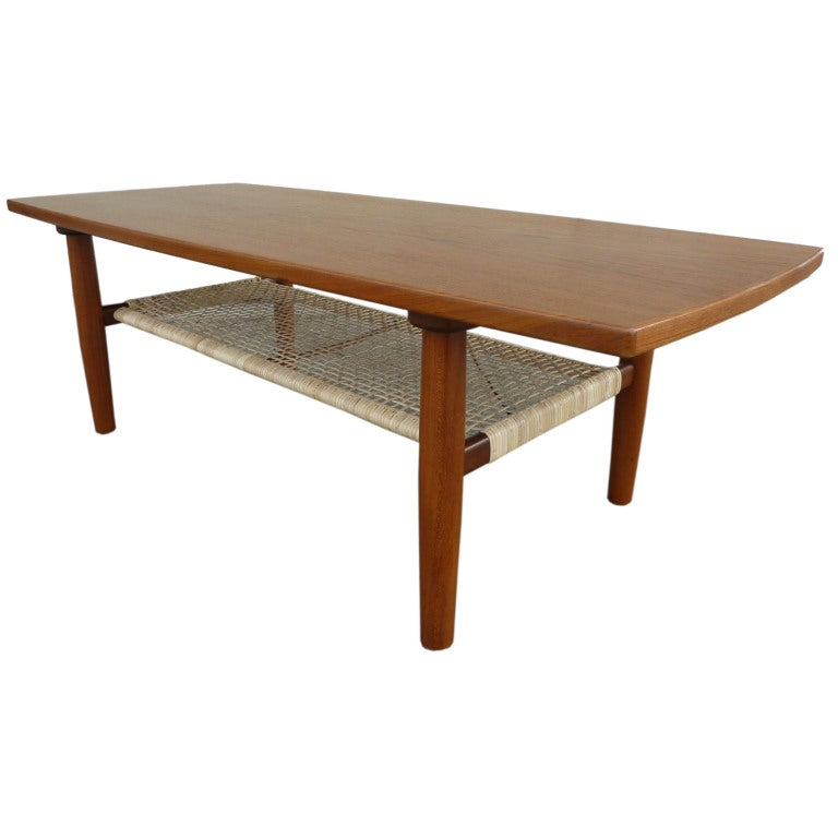 Two Tiered Coffee Table With Woven Cane Canopy At 1stdibs