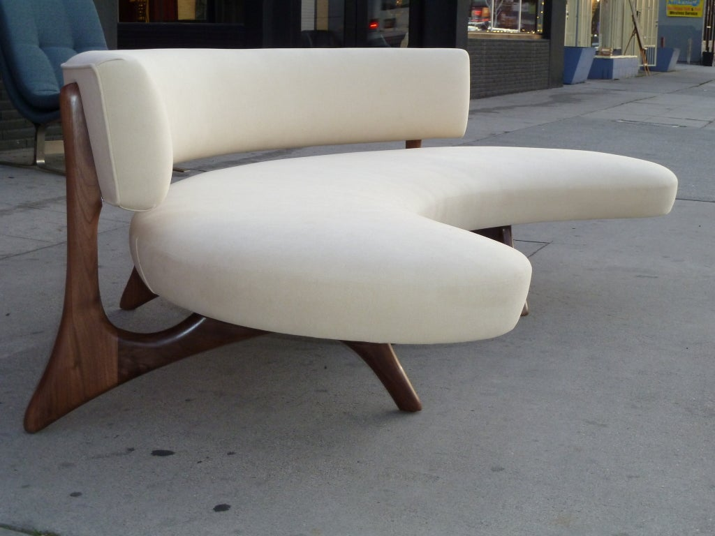 Mid Century Floating Curved Walnut Sofa 2